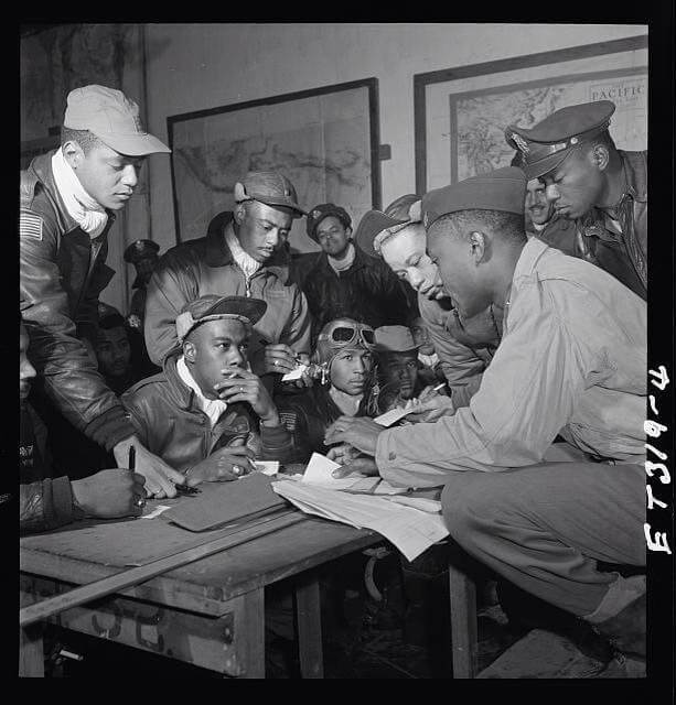 Photo of Tuskegee Airmen courtesy of Chicago chapter.