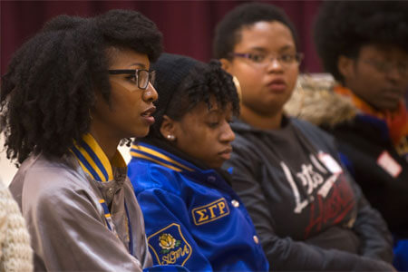 """NIU students participate Jan. 20 in an open """"think tank"""" discussion titled """"The Lost Art of Civil Disobedience: Selma to Ferguson."""""""