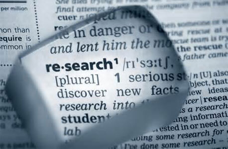 "Photo of the word ""research"" in the dictionary"