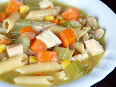 Photo of a bowl of chicken noodle soup