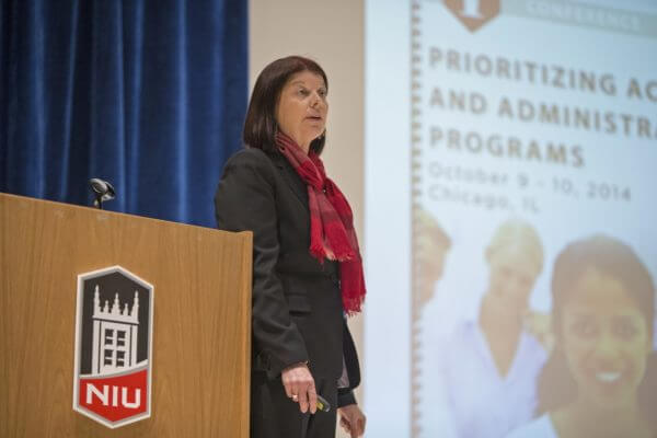 Executive Vice President and Provost Lisa Freeman discusses the NIU program prioritization process at a Jan. 29 town hall meeting.