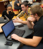 NIU student collaborate in the Founders Memorial Library