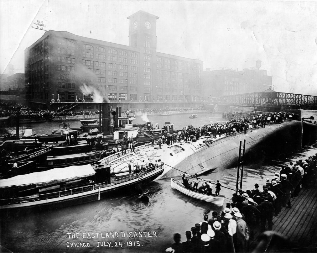 A view of the capsized S.S. Eastland approximately 75 minutes after the disaster (Courtesy EDHS)