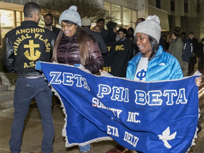 Students, faculty, staff and community members walked Jan. 20 in the Dr. Martin Luther King Jr. Memorial March from Stevenson North to the MLK Memorial Commons.