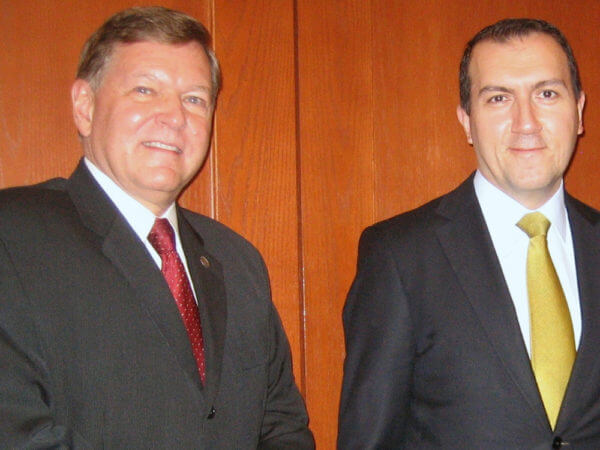 Ray Alden III and Turkish Consul General Fatih Yildiz during a campus visit.