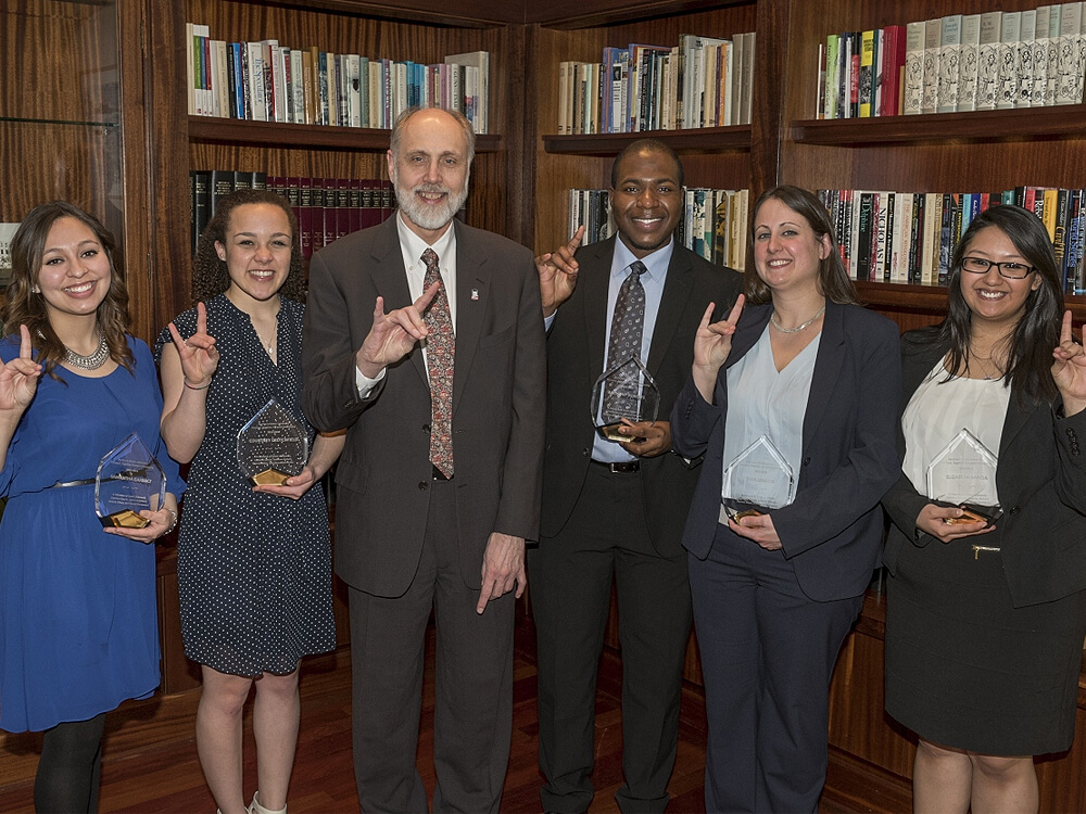 2015 Forward, Together Forward Scholars pose with President Doug Baker at a March 1, 2015 luncheon