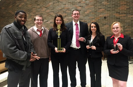 Members of the award-winning mock trial team include (left to right) Alonte Holliday, Joel Heilmann, Kristen Stoicescu, Mike McCarthy, Tiana Sarto and Krista Krepp.