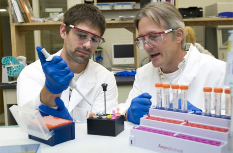 Former NIU student Erik Curry (now in medical school at SIU) and Barrie Bode pipette samples from cancer cells for analysis.