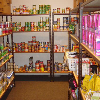 Shelves of food at the Huskies Student Food Pantry
