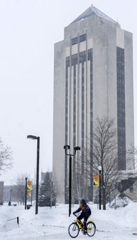 Holmes Student Center in winter