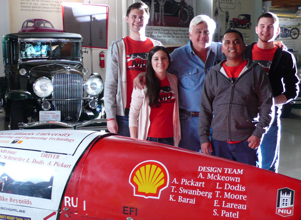 """Four members of the NIU Supermileage Team were selected to appear in a Shell Oil promotion for the upcoming Shell Eco-marathon competition in conjunction with the """"Emmy-winning Jay Leno's Garage"""""""