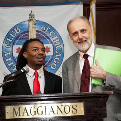 Randiss Hopkins and NIU President Doug Baker