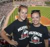 Huskie Marching Band members enjoy NIU Night 2014 at U.S. Cellular Field.