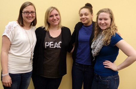 Students from the Community Organizations in a Digital World class include (left to right) Jennifer Sanchez, Julia Metz, Hayley Jackson and Amanda Nellett.