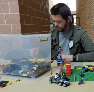Anthropology graduate student Nathan Cooley constructed Lego towers that were displayed in a pop-up exhibit at De-Stress Fest 2014.