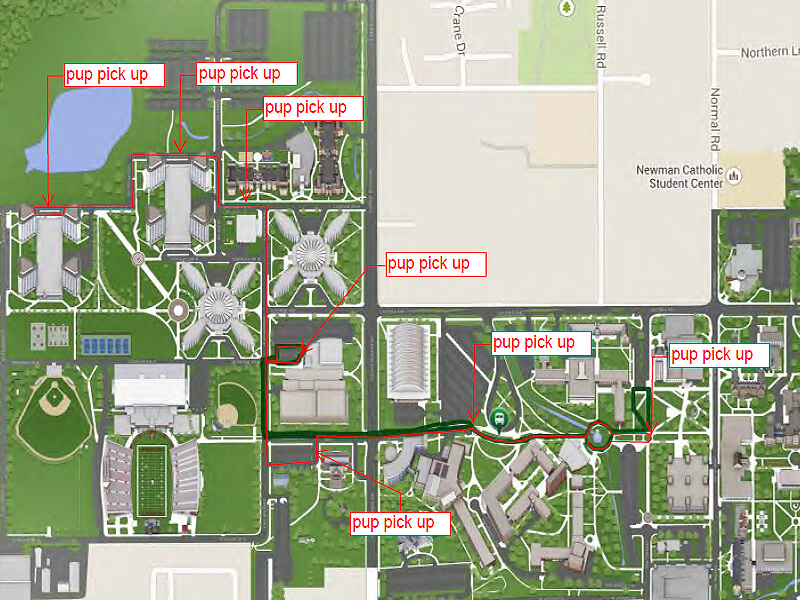 The new Huskie Pup route (red) ovelaying the route run in fall 2014.