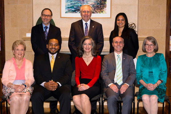 The 2015 NIU Alumni Association Alumni Awards winners. Back row, from left, Richard F. Bales, Bob Kornecki, Somya Munjal. Front row, from left, Yvonne A. Johnson, Roosevelt Griffin III, Jane Lux, Carlos Fulcher, and Nancy M. Castle. Not pictured: John C. Landgraf and William E. Taylor.