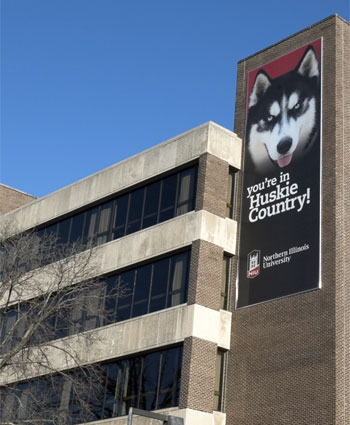 Photo of a banner on Founders Memorial Library