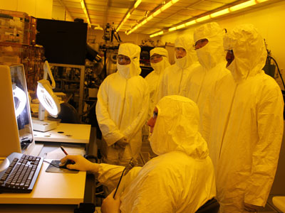 High school campers interested in STEM visit a clean room at NIU's College of Engineering and Engineering Technology.