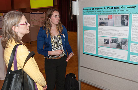 "Katy Voight, sophomore history and German major, presents her ""Images of Women in Post-Nazi Germany"" project during the 2014 URAD."