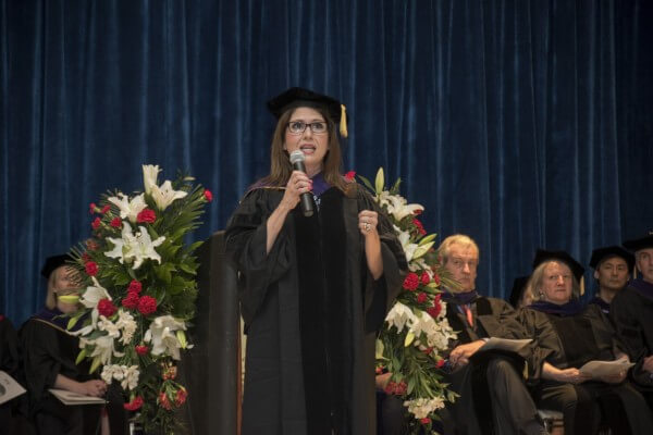 Lt. Governor Evelyn Sanguinetti addresses NIU Law's class of 2015