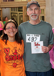Departing Law Dean Jennifer Rosato Perea with Interim Dean Mark Cordes following a 2014 5K race sponsored by the NIU College of Law
