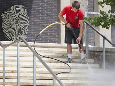 Washing the stairs