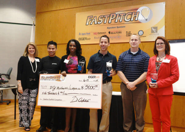 (L to R) Sherry Pritz with FastPitch winners Doug Hoang, P.J. McGuire, Brad Marshall, Paul Fowler and Nicole Sdao.
