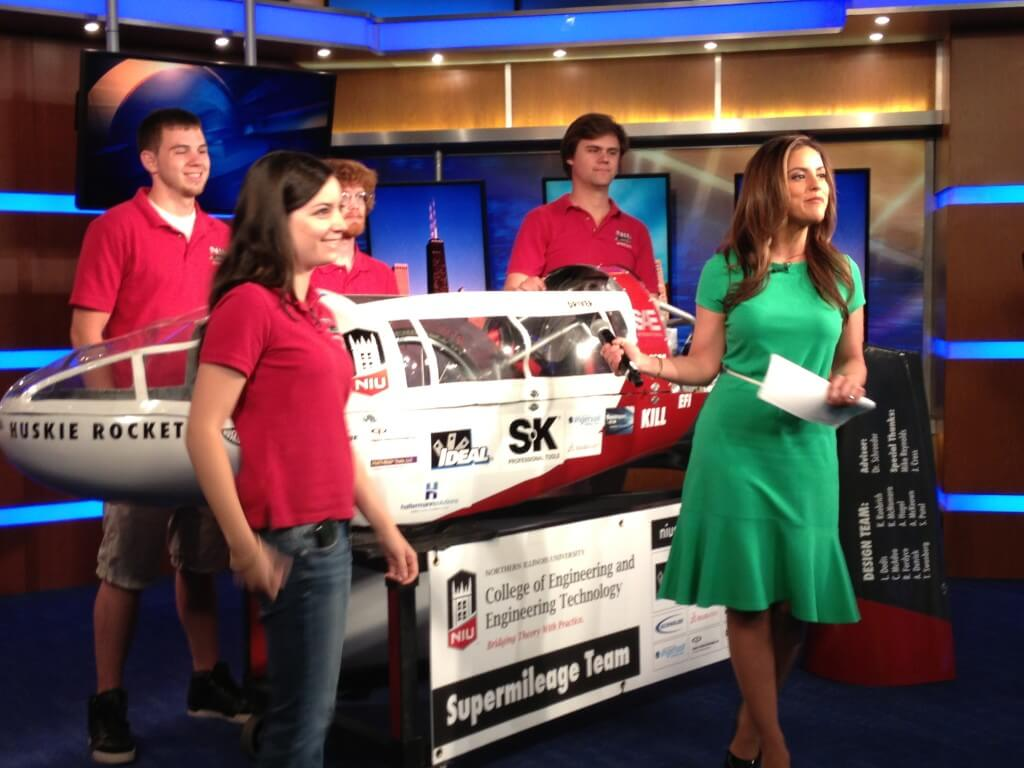 NIU Supermileage Team members Lindsey Dodis, Kevin Kuebrich, Christian McAdoo and Russell Fordyce on the set of WFLD-TV's Good Day Chicago.