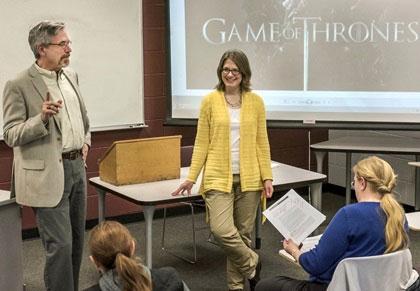 Professors Jeff Chown and Valerie Garver team-teach NIU's Game of Thrones honors seminar.