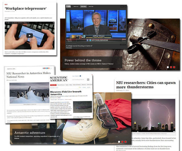 Collage of NIU news stories