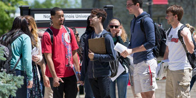 Students on the NIU campus