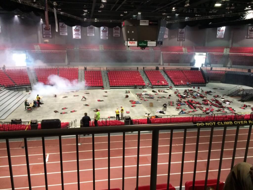 More than 200 law enforcement and fire personnel from local, regional, state and federal agencies participated in a drill which simulated improvised explosive devices detonated in the NIU Convocation Center.