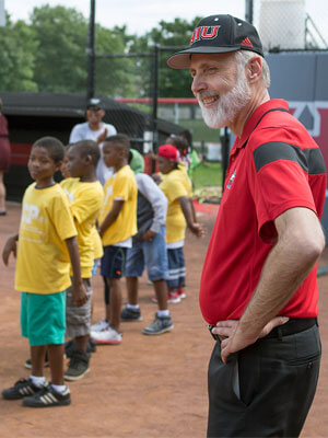 NIU President Doug Baker visits Camp Power Wednesday.