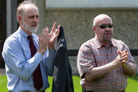 NIU President Doug Baker and DeKalb Mayor John Rey