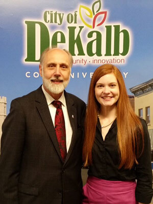 Baker and CLCE major Jessica Sandlund spoke Tuesday at the DeKalb State of the City event.
