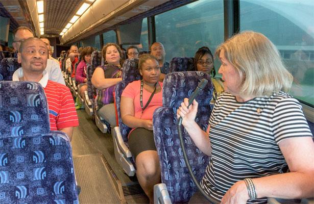 New NIU parents take a bus tour of DeKalb.