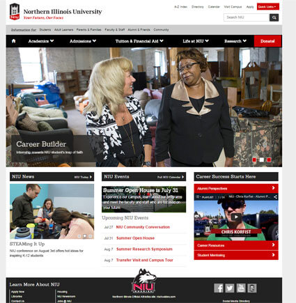 Screen capture of the www.niu.edu homepage