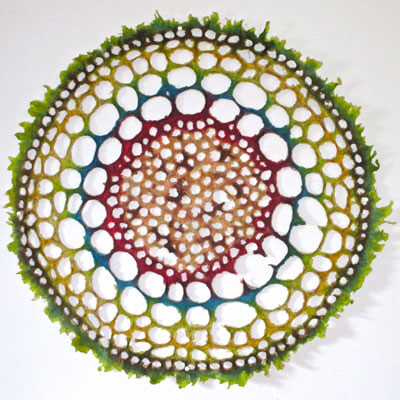 """""""Blood Root Shoot"""" by Melissa Jay Craig, 2015. Cast abaca pulp and procion dyes. Courtesy of the artist."""