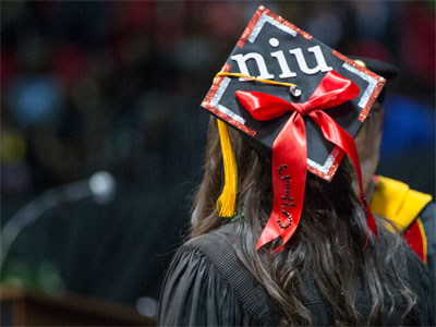 An NU graduation cap