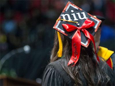 An NU graduation cap