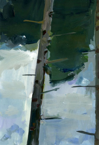 """Nina Rizzo's """"In Between Trees,"""" Gouache on paper, 2014"""