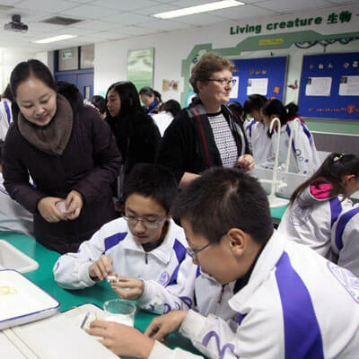 Students from Tsinghua high school attempted to build neutrally buoyant toys during Pati Sievert's first visit to China and Taiwan.
