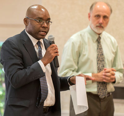 """Eric Weldy lauds """"the new admissions office"""" at NIU during President Doug Baker's Aug. 7 Strategic Plan Implementation Leadership Retreat."""