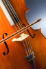 Close-up of a cello and bow