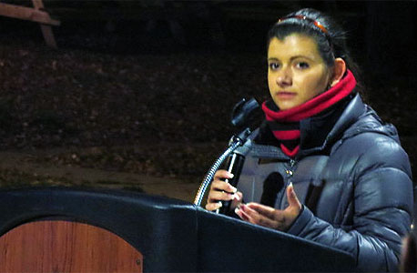 Raquel Chavez, now NIU's student trustee, speaks during last year's Unity Walk.