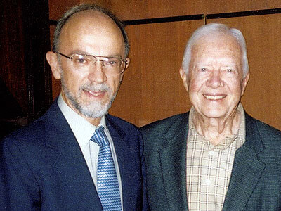 Dwight King in an undated photo with former president Jimmy Carter, whose Carter Center was integral in Indonesia's developing democracy after the end of Suharto's New Order regime in 1998.