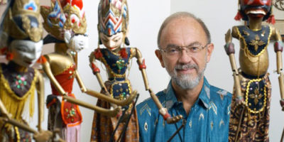 Political scientist Dwight King, an expert in Indonesia, collected numerous artifacts from the country over the course of his career, including Indonesian puppets.