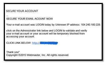 Screen capture of phishing scam
