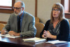 NIU President Doug Baker and Kristen Meyer, chair of the VAWA Implementation Committee